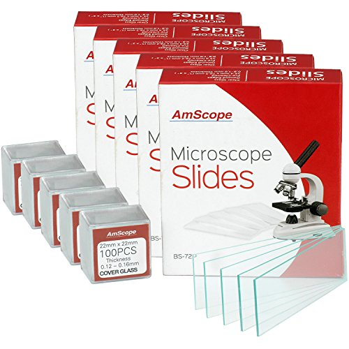 AmScope BS-72P-100S-22 72 Pieces of Pre-Cleaned Blank Microscope Slides (5 Count)