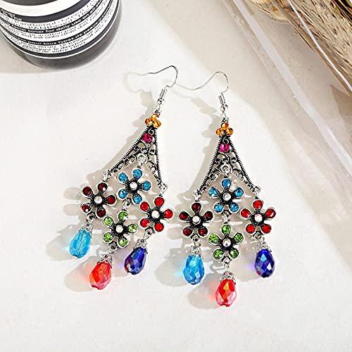 FEARRIN Pendientes Coloridos Pendientes de Color Plateado para Mujer Pendientes Largos con borlas Pendientes Decorativos de Verano Style5
