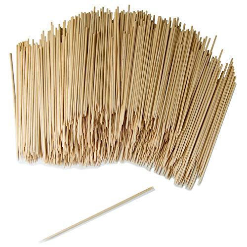 GoBeTree 1000 Brochetas de Madera de 15 cm y Ø 2.5 mm de diámetro. Pinchos y Palos de Madera bambú para Parrillas, barbacoas, Carnes, Verduras. Palos de Madera para Manualidades.