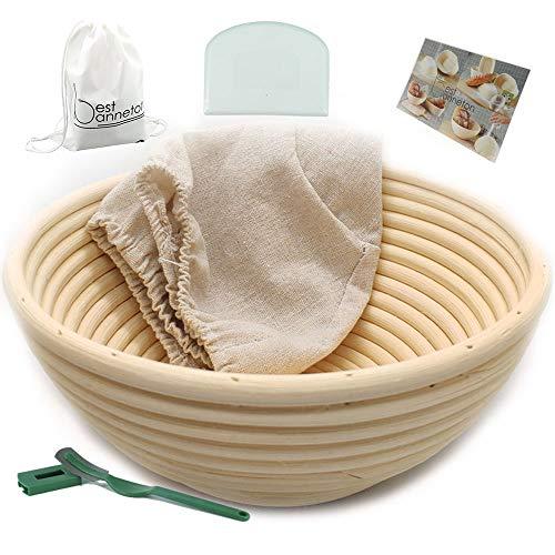 Banneton Proofing Basket - Cuenco de mimbre redondo de 9 pulgadas para pan y masa, 750 g de masa, incluye rascador de arco blanco