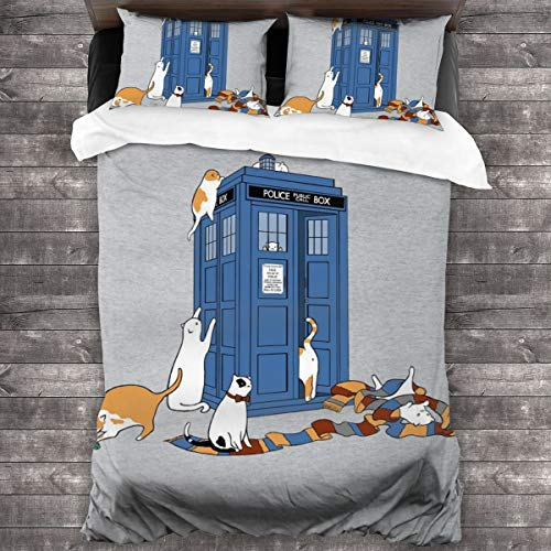 KUKHKU Time Travellers Cats Doctor Who Tardis 3 Pieces Bedding Set Duvet Cover 86'x70', Decorative 3 Piece Bedding Set With 2 Pillow Shams