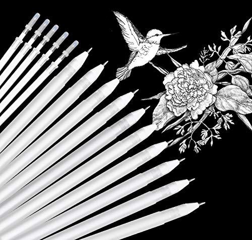 Weißer Gelstift, Eokeey 15 Künstler Weiße Stifte 0,8 mm Feiner Fineliner-Tintenstiftsatz für das Zeichnen von schwarzem Papier, Skizzieren des Highlight-Stifts für die Schule, Kunstdesignzubehör