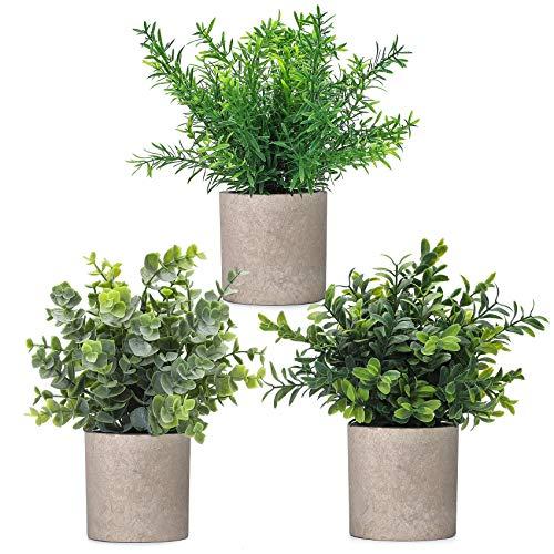 Fanyuanfds Paquete de 3 plantas artificiales de eucalipto, plantas de plástico falsas de romero verde para decoración del hogar, oficina, escritorio, ducha, decoración
