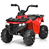 Costzon Ride on ATV, 6V Battery Powered Kids Electric Vehicle, 4 Wheeler Quad w/Headlights, MP3, USB, Volume Control, Large Seat, Electric Ride on Toys for Boys& Girls (Red)