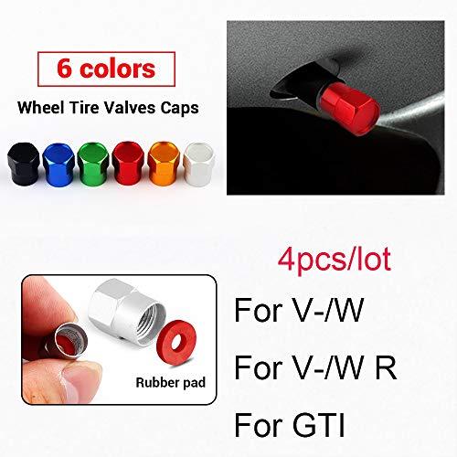 Ldwxxx Autozubehör 4 stücke Auto Rad Reifenventile Reifen Luftkappen Hülle für VW Für Volkswagen GTI für R Line Scirocco Golf Polo Mk6 Für Passat Tiguan (Color : Red, Size : for V W R)