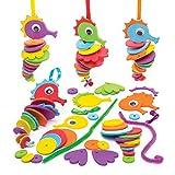 Baker Ross AW679 Kits de Caballitos de Mar Apilables Suministros de Artesanía para Niños Pequeños, Regalitos para Fiestas y Actividades, Multicolor, Pack de 6