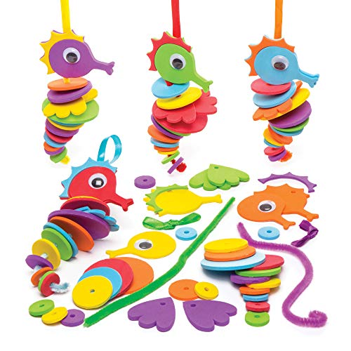 """Baker Ross Steck-Bastelsets """"Seepferdchen"""" (6er-Pack) Bastelspaß für Kinder, Mitgebsel und Aktivitäten."""