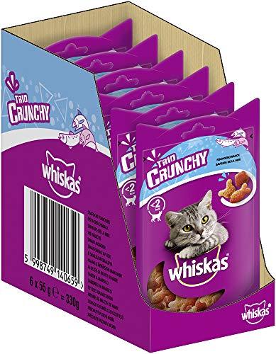 Whiskas Katzensnack Trio Crunchy Treats mit Fischgeschmack (Lachs & Weißfisch), 6 Packungen (6 x 55 g)