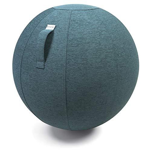 VLUV STOV Stoff-Sitzball, ergonomisches Sitzmöbel für Büro und Zuhause, Farbe: Petrol (blau-grün), Ø 70cm - 75cm, hochwertiger Möbelbezugsstoff, robust und formstabil, mit Tragegriff