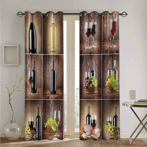 nooweihome Wine wrap Around Curtain Rod Wine Themed Collage on Wooden Backdrop with Grapes and Meat Rustic Country Drink The Best Choice for Bedroom and Living Room W84 x L96 Brown Black Red