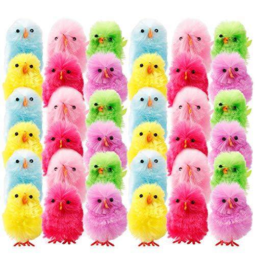 Osterküken Eier Dekorationen, 12 / 36PCS Miniatur Hühnchen Ornamente, Simulation Chenille Küken bevorzugen Geschenke für Kinder