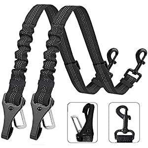 XIRGS Dog Seat Belt, Upgrade 2 in 1 Latch Bar Attachment Dog Car Seatbelt Metal Buckle Elastic Buffered Reflective Nylon Belt Tether 2 Pack Pet Safety Seat-Belt Universal Vehicle Seatbelt