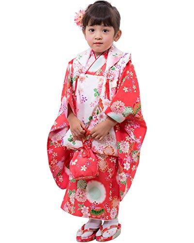[キョウエツ] 着物セット 七五三用 3歳用 被布セット 華やかA 9点セット(柄被布、柄着物、伊達衿、長襦袢、髪飾り、巾着、草履、腰紐、足袋) ガールズ (11-B1)