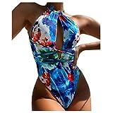 Snakell Mono Estampado de Mujer Push-Up Bikini de Playa Traje de Baño de Una Pieza Conjunto de Bikini, Conjunto de Bikini de Tirantes Siameses para Mujer Push Up Ropa de Playa