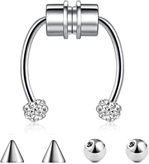 Magnetic Nose Ring, Septum Ring, Horseshoe Ring, Fake Nose Ring, Non-Puncture Women's 316L Stainless Steel Jewelry(1PCS:Si...