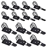 Rustark 50Pcs 2 Sizes Adjustable Self-Adhesive Nylon Cable Straps Cable Ties Cord Clamp for Wire Management, Large and Small