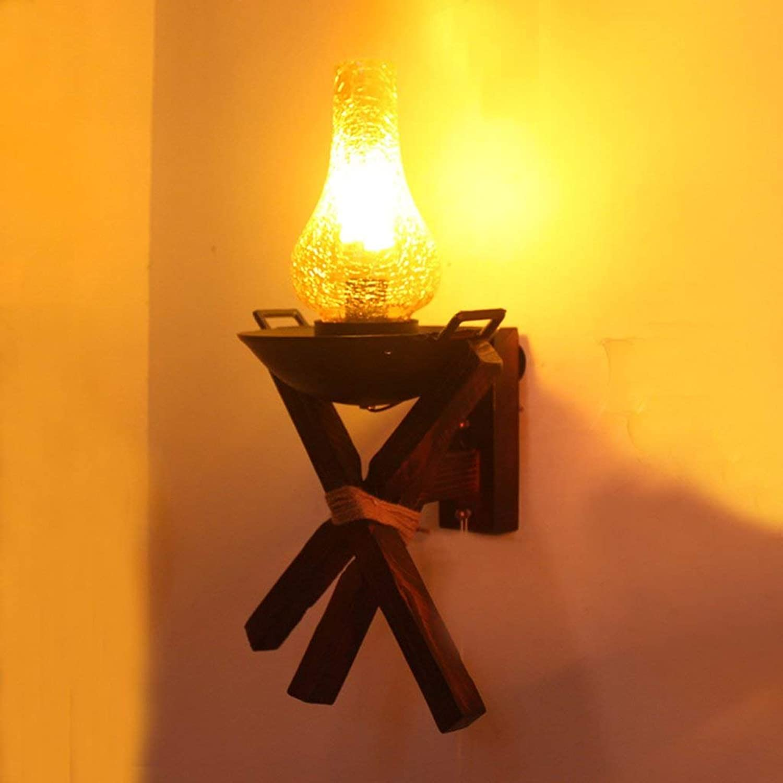 JU Massivholzgitter antike Laterne Loft industrielle Retro Bar Persönlichkeit kreative kreative kreative Wandleuchte B07J39KTWV | Online einkaufen  b7f76f