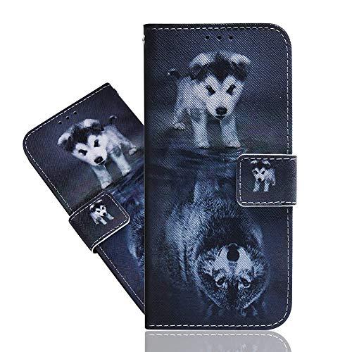IMEIKONST Custodia per Zenfone Max Plus (M1) ZB570TL,a Libro in Pelle PU Flip Card Holder Portafoglio Magnetic Protective Shockproof Stand Caso per ASUS Zenfone Max Plus (M1) ZB570TL Wolf Dog TXZH