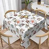 Campers - Mantel cuadrado de poliéster para mesa de banquete, buffet, cocina, comedor y decoración de fiesta, 150 x 150 cm