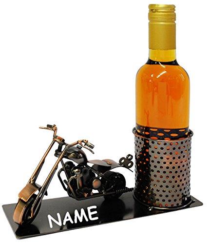 Unbekannt Flaschenhalter / Flaschenständer -  Motorrad / Shopper  - aus Metall - incl. Name - ideal für Piccolo Wein, Sekt, Bier u.v.m. - Motorradfahrer - Führerschei..