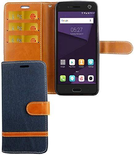 König Design Handy-Hülle Kompatibel mit ZTE Blade V8 Schutz-Tasche Hülle Cover Kartenfach Etui Wallet Dunkel-Blau