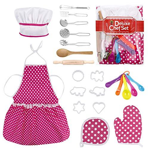 Ropa de Chef Infantil,Opopark 22 Piezas Conjunto de Juego de rol de Chef Juego de Cocina Delantales para Niñas Juegos de rol de Cocina y Horneado para Niños Cosplay Accesorios de Cocina