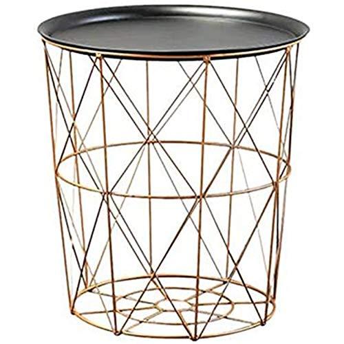 Kaudia Roundtable Tea Corner Balcony Table Wicker Storage Basket of Metal Around Modern Side Table Set Coffee Table in The Industrial Design of Metal,C