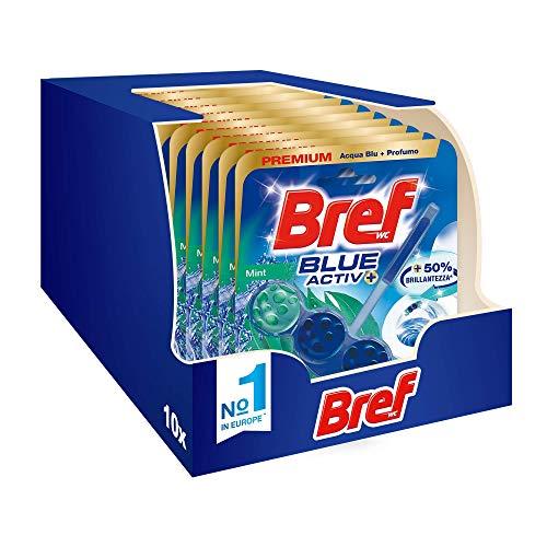 Bref Bref Wc Blue Activ+ Menta - Limpiador perfumador para inodoro en pastillas higienizante para baño, limpio, fresco, paquete ahorro de 10 unidades – 500 g