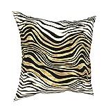 DearLord Fundas de cojín cuadradas de doble cara con estampado animal, diseño de rayas de cebra, color negro, blanco y dorado, con cremallera invisible de 45,7 x 45,7 cm