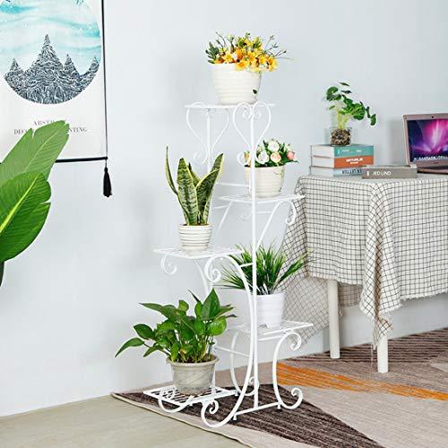 Escalera para flores de teca de 5 niveles, estantería para flores, escalera para macetas de metal, soporte para flores con estantes, escalera para plantas en interiores y exteriores