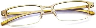 Blue Light Blocking Glasases Men's Semi Rimmed Eyeglasses for Computer Gaming Anti Eyestrain Sleep better