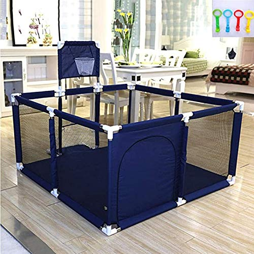 Baby Playpen, Indoor Home Ocean Ball Pool, Baby Kids Crawling Baby Mat, Toddler Safety Fence, Child Protective Fence, 120X120X62CM (Color : Blue)