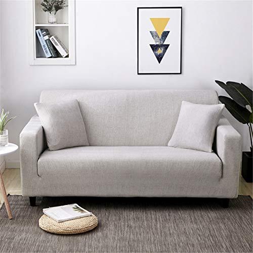 Funda para Sofá Elástica 1 2 3 4 plazas, Morbuy Color Sólido Universal Chaise Longue Brazos Cubierta de Sofá Cubre Sofá Funda Furniture Protector Antideslizante (2 plazas,Gris Claro)