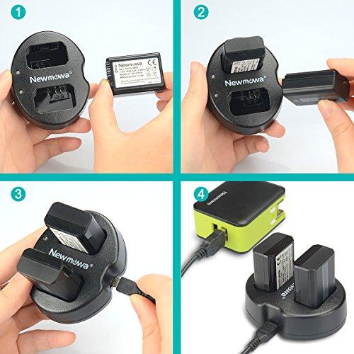 Newmowa NP-FW50 Batería de repuesto (2-Pack) y Kit de Cargador Doble para Micro USB portátil para Sony NP FW50 Sony Alpha a3000, Alpha a5000, Alpha a6000, a6100, a6300, a6500, Alpha 7, a7,Alpha 7R, a7R, Alpha 7S, a7S, NEX-3, NEX-3N, NEX-5, NEX-5N, NEX-5R, NEX-5T, NEX-6, NEX-7, NEX-C3, NEX-F3, SLT-A33, SLT-A35, SLT-A37, SLT-A55V, Cyber-shot DSC-RX10, DSC-RX10M3, DSC-RX10M2, RX10 IV