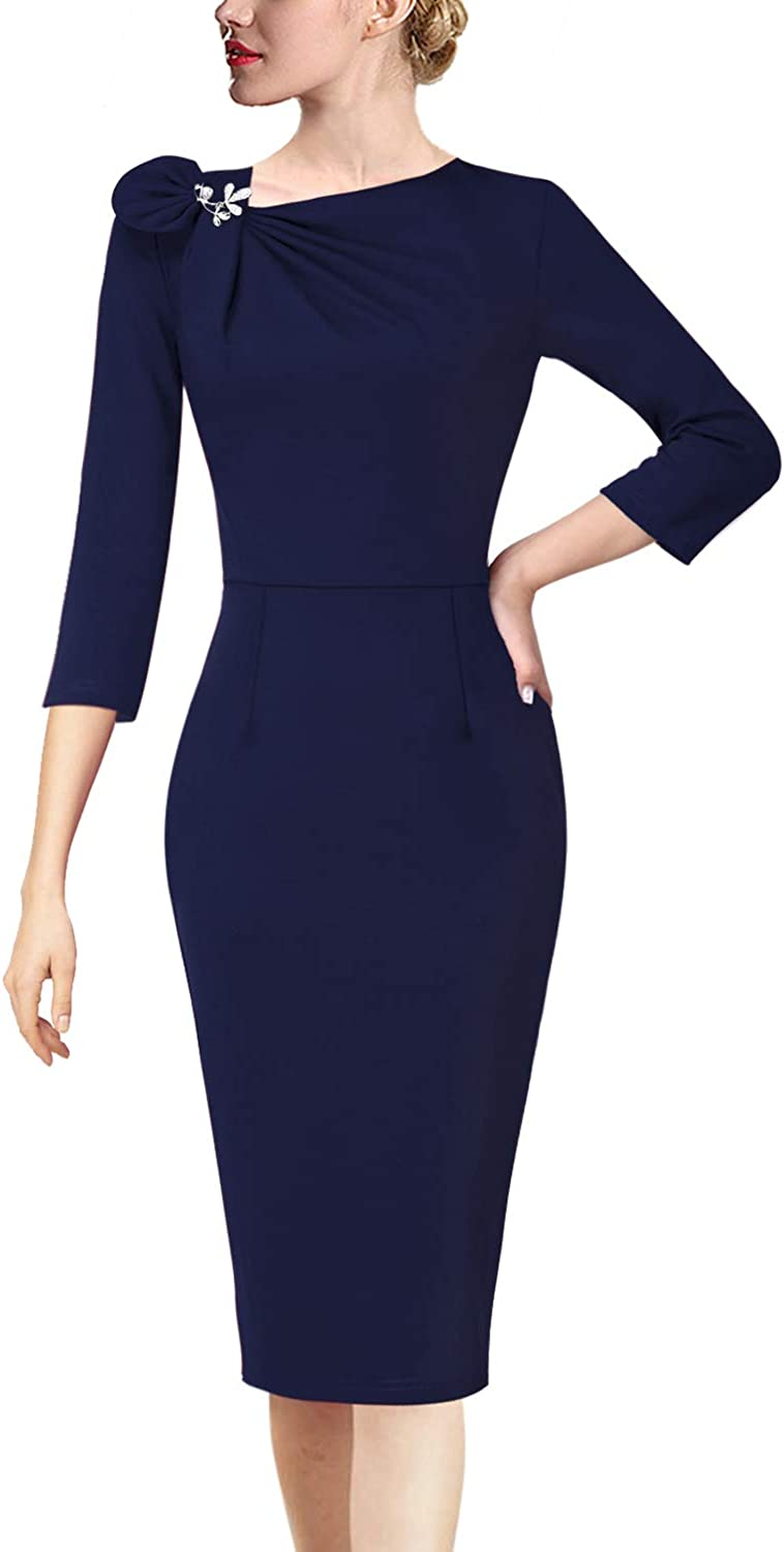 VFSHOW Womens Pleated Asymmetric Bow Neck Work Cocktail Party Sheath Dress