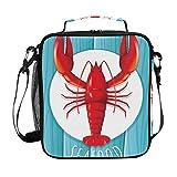 Bolsa de almuerzo aislada con diseño de langosta roja y mariscos, con correa para el hombro, ideal para mujeres, hombres, niños, niñas, bolso grande para la escuela, oficina