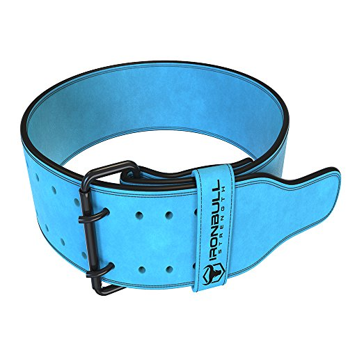 Powerlifting Belt/Weight Lifting Belt - 10mm Double Prong - 4-inch Wide Suede Leather - Power Back Support for Weightlifting, Strength Training, Strongman - Men & Women