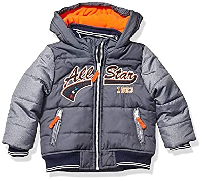 LONDON FOG Boys' Little Quilted Bomber Jacket with Hood, Grey Allstar, 5/6