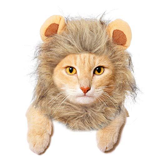 JDYW Disfraz Gato Mascota Lion Mane Peluca para Perro Gato Navidad...