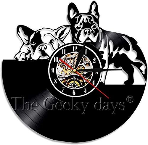 CCGGG Reloj de Pared de Bulldog francés diseño Moderno Reloj de Pared de Vinilo Animal Perro Cachorro Reloj de Registro Wenli decoración de guardería para Amante de los Perros