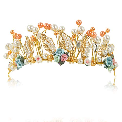 kilofly Tiara de novia con diseño de flores para novia