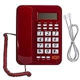 Heayzoki Telefono Cordless DTMF FSK, Telefono di casa Inglese Office Telefono Fisso Telefono Apparecchiature di Comunicazione, Telefono Fisso Supporto Vivavoce con Display LCD, 24 suonerie, Rosso