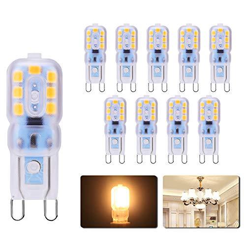 Lampadine Led G9 3W Energetico Lampada, 300Lm AC220-240V, Bianco Caldo 3000k, Equivalente di Lampadina Alogene da 30W, Angolo di Visione 360°, Confezione da 10
