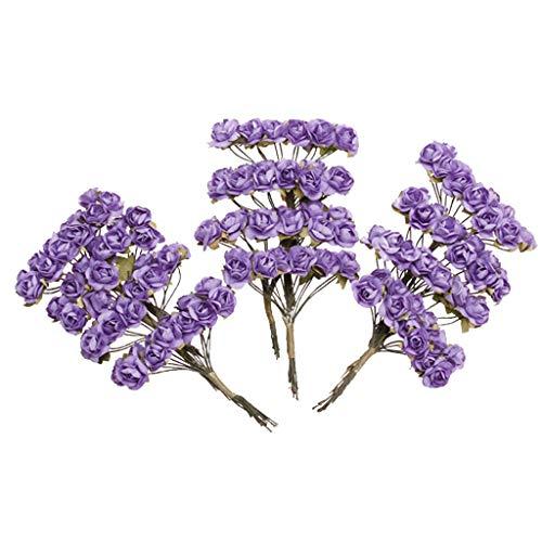 Zeagro Mini-Papierrosen zum Basteln, für Hochzeitsgastgeschenke (lila) ca. 144 Stück