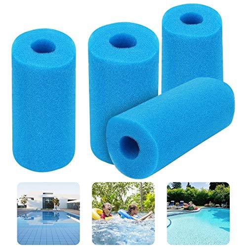 Herefun 4 Stück Schwimmbad Filterschwamm Blau 200x100 mm, Schaum Schwamm Filterschwamm Typ A wiederverwendbar, Schwimmbad Filter Spa Filter Schwimmbad Schwammfilter für Spa Aquarium Schwimmbad