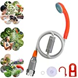 Portable Shower Upgraded Portable Camping Shower Outdoor, USB Rechargeable Battery Powered Portable Shower with Hook, LED Light, for Camping Hiking Travel Beach, Shower for Dog, Baby, Car, Plants