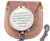 RIRHTAJUS Thoreau's Go Confidently Quote Engraved Brass Compass with Stamped Leather case, Graduation Day Gifts, Boys Gifts, Compass Gifts