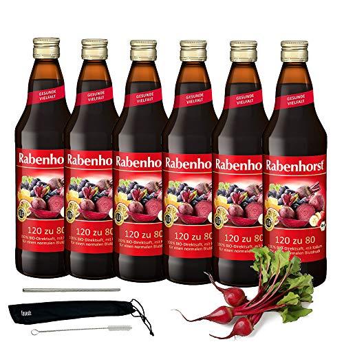 Rabenhorst Saft 120 zu 80 6x 700ml Vegan Bio-Rote-Bete-Mehrfruchtsaft - zur Aufrechterhaltung eines normalen Blutdrucks PLUS fooodz-Trinkhalm Set mit Reinigungsbürste