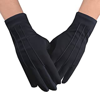 JISEN Men Police Formal Tuxedo Honor Guard Parade Nylon Cotton Gloves 26cm