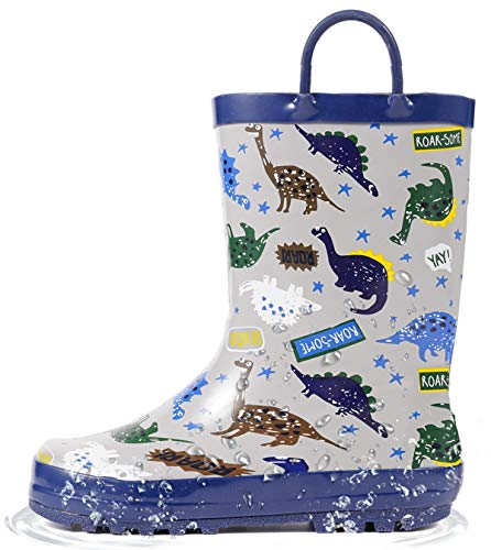 Outee Kids Rain Boots Toddler Boys Rubber Waterproof Shoes Printed Grey Dinosaur Adorable Print Cute Lightweight with Easy On Handles (Size 1,Grey)